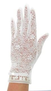 Летние перчатки с сердечками. Кружево+трикотаж. Белые