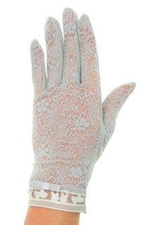 Летние перчатки с сердечками. Кружево+трикотаж. Серые