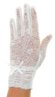 Летние перчатки со сборкой. Кружево+трикотаж. Белый