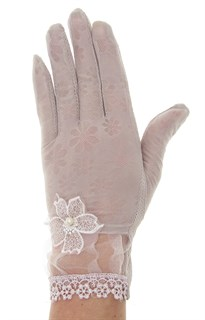 Летние перчатки сенсорные с прозрачной вставкой. Гипюр+трикотаж. Мокко