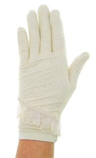 Летние перчатки сенсорные. Гипюр+Хлопок. Крем