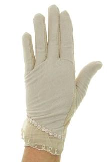 Летние перчатки сенсорные. Гипюр+Хлопок. Кофе с молоком