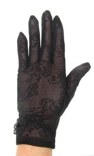 Летние перчатки сенсорные с маленьким цветком. Черные