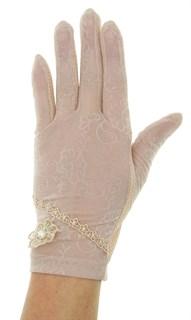 Летние перчатки сенсорные с маленьким цветком. Темная пудра