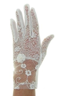 Летние перчатки. Кружево+трикотаж. Белые