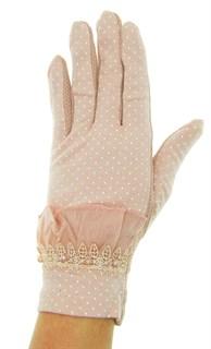 Летние перчатки в горошек сенсорные. Хлопок. Темная пудра