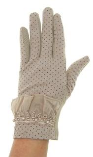 Летние перчатки в горошек сенсорные. Хлопок. Кофе с молоком