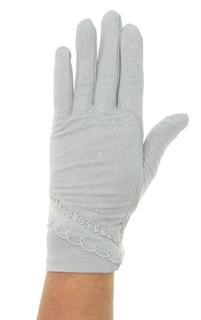Летние перчатки сенсорные. Гипюр+Хлопок. Серые