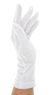 Велюровые короткие перчатки. Белые