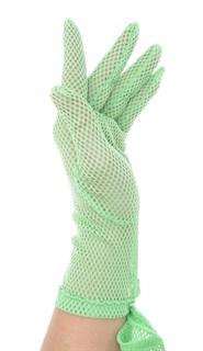 Короткие перчатки крупная сетка. Салатовые