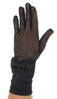 Перчатки сетка с бантом. Черные