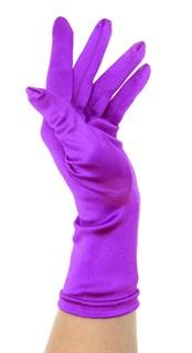Атласные короткие перчатки. Фиолетовые