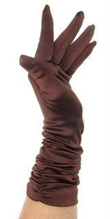 Атласные перчатки со сборками 3/4. Шоколад