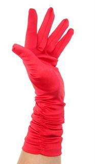 Атласные перчатки со сборками 3/4. Красные