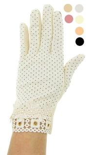 Летние перчатки в горошек сенсорные. Хлопок. 3912