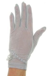 Летние перчатки сенсорные с маленьким цветком. Серые
