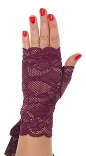 Кружевные митенки. Пурпурно-красные. 3923