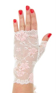 Кружевные митенки. Белые с розовыми цветами. 3932