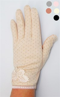 3913. Летние перчатки в горошек сенсорные с бабочкой. Хлопок