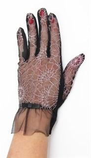 3986. Черные летние перчатки сенсорные с вышивкой - фото 20553