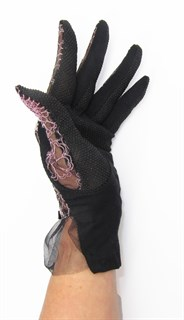 3986. Черные летние перчатки сенсорные с вышивкой - фото 20554