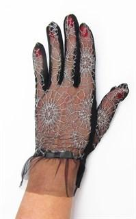 3986. Черные летние перчатки сенсорные с вышивкой - фото 20555