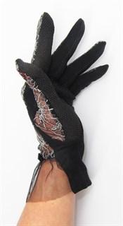 3986. Черные летние перчатки сенсорные с вышивкой - фото 20556