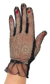 3986. Черные летние перчатки сенсорные с вышивкой