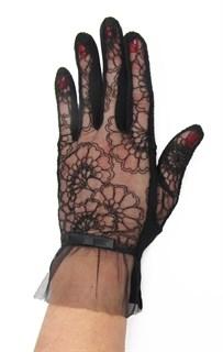 3986. Черные летние перчатки сенсорные с вышивкой - фото 20558