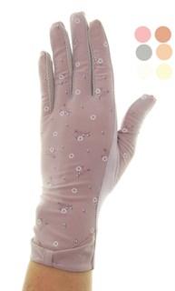 3995. Тонкие перчатки сенсорные. Хлопок с цветочками
