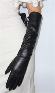 3996. Длинные кожаные перчатки Классика. Черные