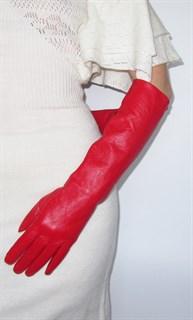 3997. Длинные кожаные перчатки Классика. Красные
