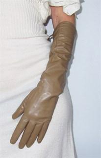 3998. Длинные кожаные перчатки Классика. Бежевые