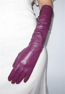 3999. Длинные кожаные перчатки Классика. Слива