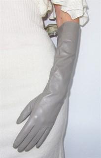 4000. Длинные кожаные перчатки Классика. Серый