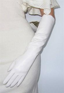 4010. Длинные кожаные перчатки Классика. Белый