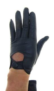 4012. Перчатки из кожи на кнопке без подкладки. Черные