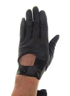 4014. Перчатки из кожи на кнопке без подкладки. Темно-коричневые