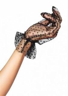 040161. Короткие перчатки из фатина с рюшей Мушка. Черные