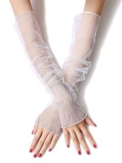 040141. Белые прозрачные рукава Ромбики