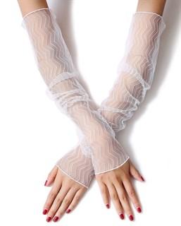 040162. Белые прозрачные рукава Зигзаги