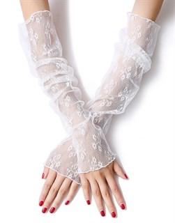 4018. Белые прозрачные рукава с цветочками