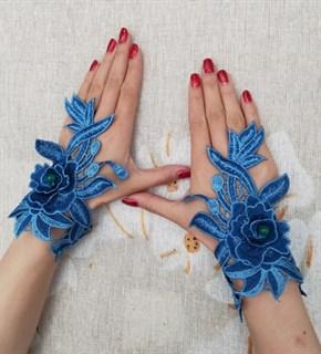 4030. Митенки из вязаного кружева ручной работы. Синие