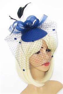 Шляпка таблетка с вуалью Линда. Темно-синяя