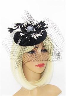 Черная бархатная шляпка таблетка Регина