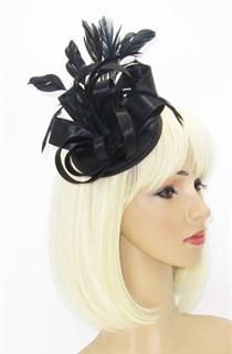 Маленька атласная шляпка таблетка Кристи. Черная