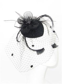 4086. Черная шляпка таблетка с вуалью