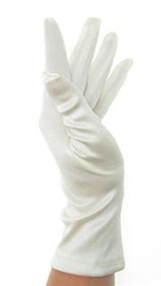 Атласные короткие перчатки. Айвори