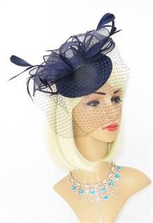 Темно-синяя шляпка с вуалью Айлин