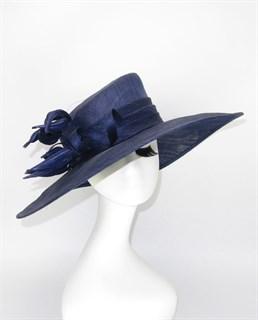 4115. Шляпа с полями из синамей темно-синяя
